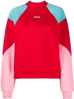 colour-block sweatshirt - Red