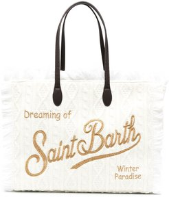 cable-knit fringed tote bag - White