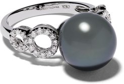 18kt white gold Classic Tahitian pearl and diamond ring - SILVER