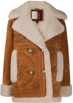double-breasted sheepskin coat - Brown
