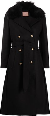 double breasted mid-length coat - Black
