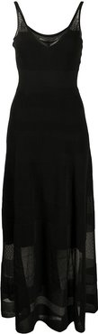 sheer-panel fine knit dress - Black