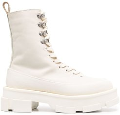 leather ankle boots - White