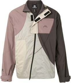 zipped contrast panel track jacket - Brown