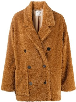 double-breasted shearling coat - Brown