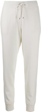 drawstring tapered track pants - White