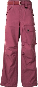 belted cargo trousers - PURPLE