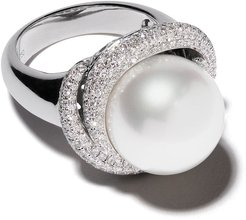 18kt white gold Mayfair south sea pearl and diamond ring - SILVER