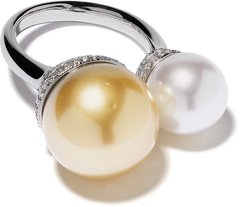 18kt white gold Novus golden and white south sea pearl and diamond ring - SILVER