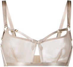 semi-sheer fitted bra - Neutrals