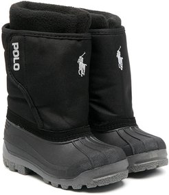 embroidered logo snow boots - Black