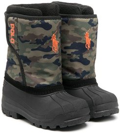 camouflage panel snow boots - Green