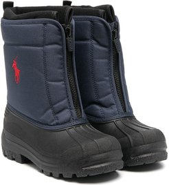 quilted panel snow boots - Blue