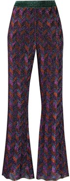 zig-zag flared knit trousers - PURPLE