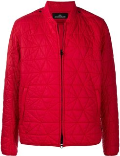 zip-up quilted bomber jacket - Red