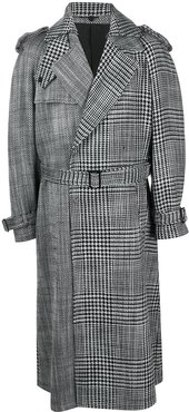 houndstooth-print belted trench - Black