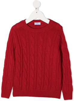 cable knit jumper - Red