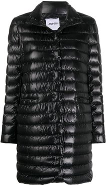 high-neck padded coat - Black