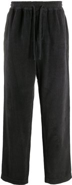 corduroy wide-leg trousers - Black