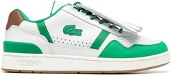 perforated two-tone leather trainers - White