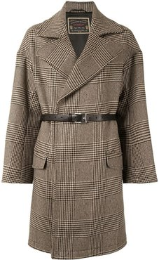 check print belted coat - Brown