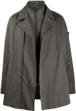 double breasted layered coat - Grey
