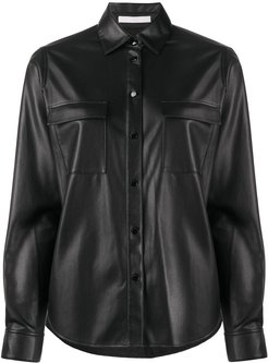 faux-leather long-sleeve shirt - Black