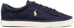 embroidered-logo low-top sneakers - Blue
