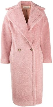 long double-breasted teddy coat - PINK