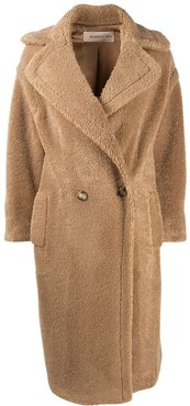 long double-breasted teddy coat - Neutrals
