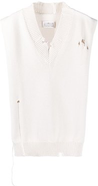 distressed V-neck stole - White