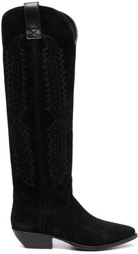 Western-style suede boots - Black