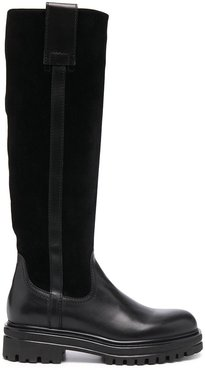chunky knee-high leather boots - Black