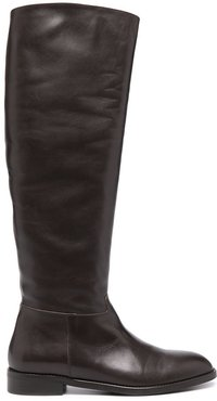 knee-high leather boots - Brown