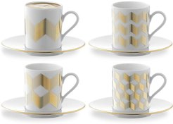 Chevron coffee set (set of 4) - White