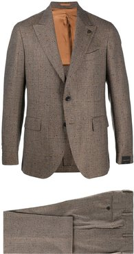 check-pattern single-breasted suit - Neutrals