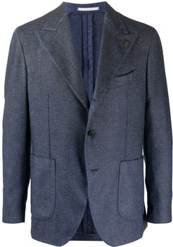tailored single-breasted blazer - Blue