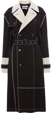 contrast stitching belted trench coat - Black
