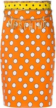 polka dot logo skirt - ORANGE
