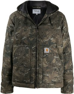 camouflage print padded jacket - Green