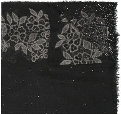 sequinned floral-pattern scarf - Black