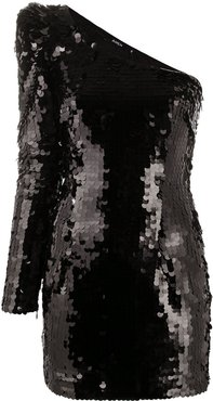 one shoulder sequin-embellished dress - Black
