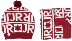 TEEN intarsia-knit hat and scarf set - Red