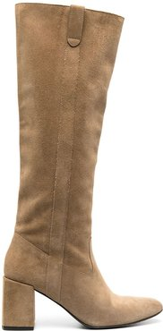 knee length mid-heel boots - Neutrals
