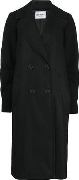 ribbed-panel double-breasted coat - Black