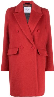 double-breasted wool-blend coat - Red