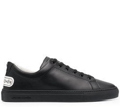 logo-patch leather sneakers - Black