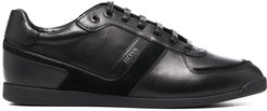 contrast panel lace-up sneakers - Black