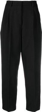 cropped high-waisted trousers - Black