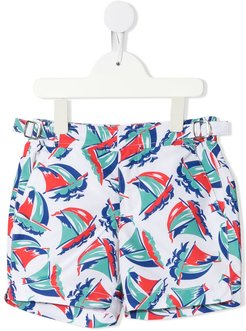 Russell boat print swim shorts - White